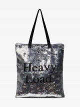 Ashish Sequinned Heavy Load Tote | silver sequin solgan bags