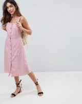ASOS Button Through Linen Midi Sundress ~ dusky pink sun dresses