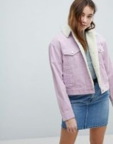 ASOS Cord Jacket With Borg Collar in Lilac