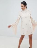 ASOS DESIGN Embellished Shift Mini Dress With Fringed Sleeves – nude vintage style evening dresses