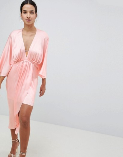 ASOS DESIGN Midi Plunge Kimono In Satin – pale pink plunging dresses