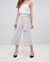 ASOS DESIGN self tie pleat culottes – lilac cropped wide leg trousers