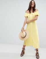 ASOS Off Shoulder Button Through Midi Sundress in Gingham / yellow check print bardot dresses / summer style