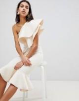 ASOS PREMIUM Quilted Pephem Bodycon Midi Dress ~ cream statement dresses