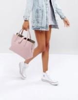 ASOS Soft Pinch Lock Tote Bag ~ pink top handle bags