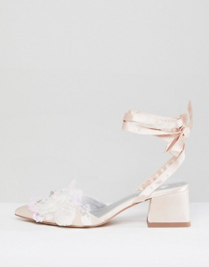 ASOS WONDERLUST Bridal Wide Fit Embellished Mid Heels – nude ankle tie wedding shoes