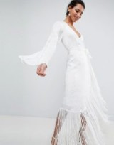 ASOS EDITION Fringe Wrap Wedding Maxi Dress – white boho style bridal dresses