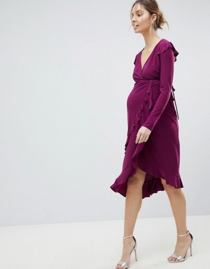 ASOS MATERNITY Frill Detail Wrap Dress in Purple