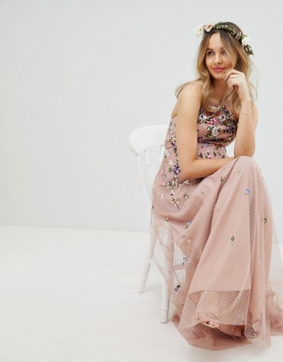 bafc627a115 ASOS MATERNITY WEDDING Floral Embroidered Dobby Mesh Cami Strap Maxi Dress  in Pink – pregnancy bridal
