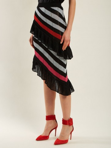 MARCO DE VINCENZO Asymmetric striped knit skirt ~ diagonal ruffled skirts
