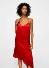 Mango Asymmetrical satin dress MILANESE – silky red cami dresses