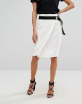 BA&SH Belted Pencil Skirt in Ecru ~ chic French skirts
