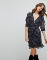 BA&SH Wrap Printed Dress ~ floaty ruffle trimmed dresses ~ French fashion brands