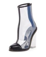 Balmain Dax Clear Chain-Trim Boot ~ transparent block heel boots