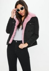 barbie x missguided black denim pink fur lined jacket | back print logo jackets