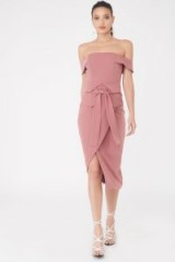 LAVISH ALICE Bardot Corset Belt Midi Dress – pink off shoulder dresses