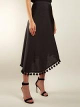 ALTUZARRA Basilica asymmetric tassel-embellished midi skirt ~ black tasseled skirts