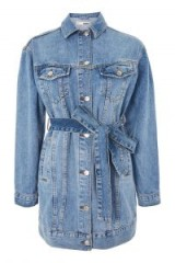 Topshop Belted Oversized Denim Jacket | casual longline jackets