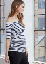 ISABELLA OLIVER BILLIE OFF THE SHOULDER TOP – navy and white stripe bardot tops – stylish pregnancy fashion