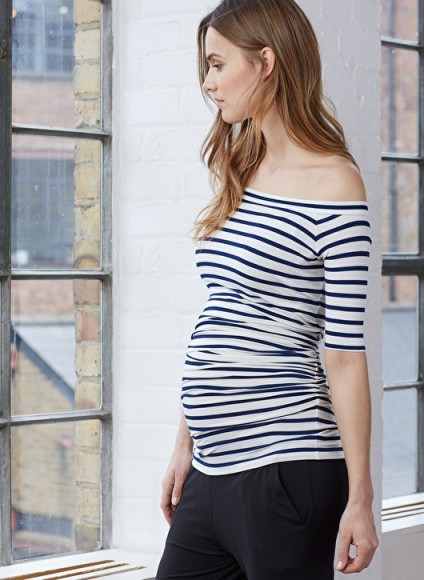 ISABELLA OLIVER BILLIE OFF THE SHOULDER TOP – navy and white stripe bardot tops – stylish pregnancy fashion - flipped