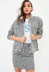 Missguided black gingham regular fit denim jacket | check print jackets