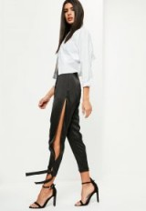 MISSGUIDED black high shine split tie detail trousers – silky side slit pants