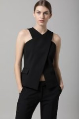 AMANDA WAKELEY BLACK LUXE TAILORING WRAP TOP ~ chic tops
