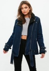 missguided blue borg lined denim aviator jacket | stylish casual jackets