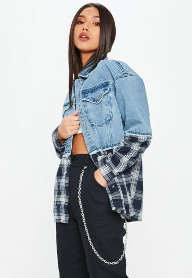 Missguided blue oversized check mix denim jacket