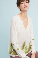 Ranna Gill Botanical Peasant Top | leaf embroidered tops