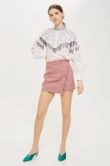 Topshop Boucle Asymmetric Wrap Mini Skirt | red textured skirts