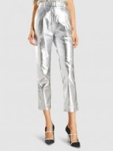 BOUGUESSA‎ Foil-Effect Metallic Faux Leather Cropped Trousers ~ silver pants