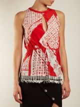 ALTUZARRA Bourse Bandana-print sleeveless top ~ red and white gathered waist tops