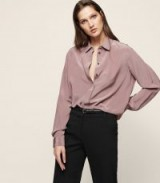 Reiss BRAZIL LONG-SLEEVED BLOUSE LILAC / chic silky blouses