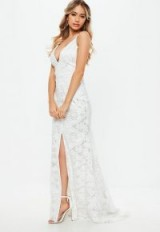 MISSGUIDED bridal white lace cross low back fishtail maxi – PLUNGE FRONT WEDDING DRESSES