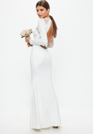 MISSGUIDED bridal white long sleeve plunge open back lace insert maxi dress – plunging neckline wedding dresses