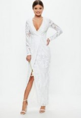 MISSGUIDED bridal white sequin embellishment wrap dress – plunge front wedding dresses