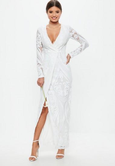 MISSGUIDED bridal white sequin embellishment wrap dress – plunge front wedding dresses