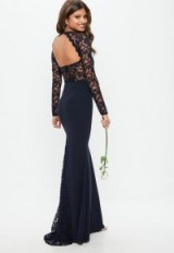 MISSGUIDED bridesmaid navy round neck lace insert fishtail maxi dress – long dark blue open back dresses