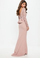 MISSGUIDED bridesmaid pink backless lace bow detail maxi – long lace sleeved occasion dresses