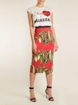DOLCE & GABBANA Broad bean-print midi skirt ~ red pencil skirts ~ beautiful Italian clothing