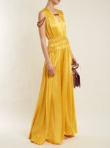 ROKSANDA Brona gathered rope-detail silk-satin gown ~ silky yellow gowns
