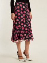PROENZA SCHOULER Carnation-print fluted midi skirt ~ black and pink floral skirts
