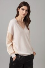 AMANDA WAKELEY CASHMERE & SATIN VIKANDER JUMPER IN OYSTER ~ luxe knitwear