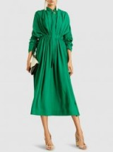 CÉDRIC CHARLIER Ruched Crepe Midi Dress – chic green gathered dresses