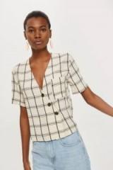 TOPSHOP Check Asymmetric Shirt / ivory short sleeve checked shirts