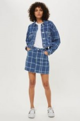 Topshop Checked Crop Denim Jacket | blue check print jackets