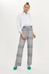TOPSHOP Checked Popper Trousers / grey check print pants