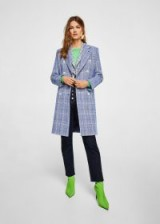 MANGO Checked structured coat ADORE / blue checks