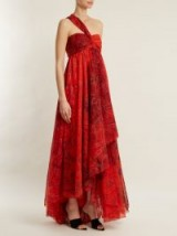 ETRO Chennai one-shoulder paisley-print silk dress ~ red asymmetric event dresses